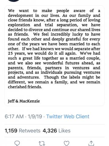 Jeff Bezos Twitter Divorce Announcement Tweet